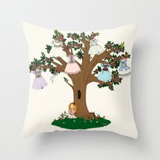 Lilith et Adalia's Blooming Dresses Throw Pillow