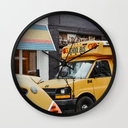 American school bus in downtown New York City, USA   Colorful yellow school bus   Travel photography  Wall Clock