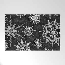 Gray Snowflakes Welcome Mat