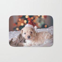 Santa Dog (Color) Bath Mat