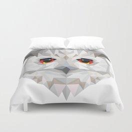 Geometric White Owl Duvet Cover
