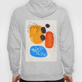 Fun Mid Century Modern Abstract Minimalist Yellow Orange Blue Watercolor Bubbles Hoodie