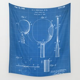 Table Tennis Patent - Tennis Paddle Art - Blueprint Wall Tapestry