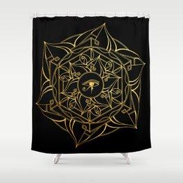Eye of Horus Mandala Black and Gold Shower Curtain