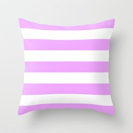 Rich brilliant lavender - solid color - white stripes pattern Throw Pillow