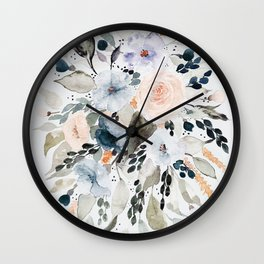 Loose Blue and Peach Floral Watercolor Bouquet  Wall Clock