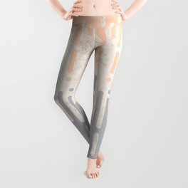 Marble and Geometric Diamond Drips, in Grey and Peach Leggings