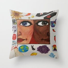 Love-World-Coexist-Life-Peace-Happiness  Throw Pillow