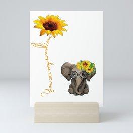 You Are My Sunshine Hippie Sunflower Elephant Mini Art Print