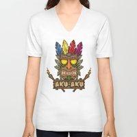 playstation V-neck T-shirts featuring Aku-Aku (Crash Bandicoot) by Pancho the Macho
