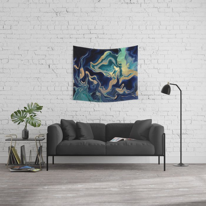 DRAMAQUEEN - GOLD INDIGO MARBLE Wall Tapestry