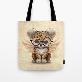 Cute Leopard Cub Fairy Wearing Glasses Tote Bag