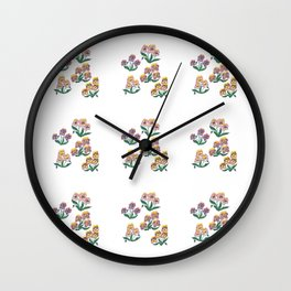 Bushes of lilac-pink-yellow violets floral pattern Wall Clock