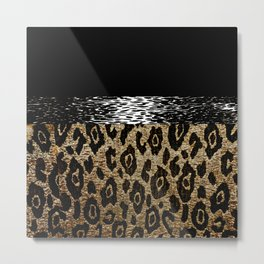 ANIMAL PRINT BLACK AND BROWN Metal Print