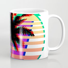 Vaporwave Palm Sunset 80s 90s Glitch Aesthetic Coffee Mug