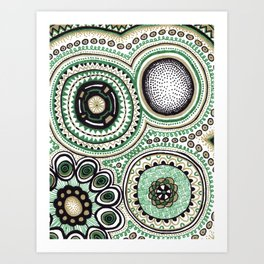 Green and Gold Rings Art Print