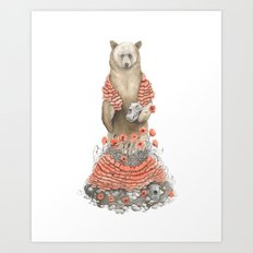 The Bear and the Poppies Art Print