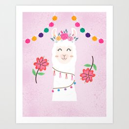 Cute Pink Llama - Boho Floral Alpaca with Pompoms Art Print