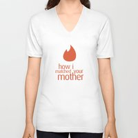 how i met your mother V-neck T-shirts featuring how i matched your mother by Aldo Cervantes Saldaña