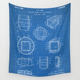Whisky Barrel Patent - Whisky Art - Blueprint Wall Tapestry