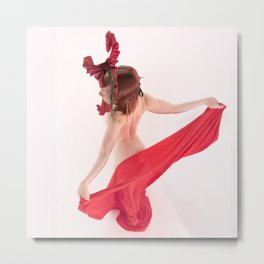 1568s-MM Bare Woman in Mask and Red Cloth Square High Key Art Nude Metal Print