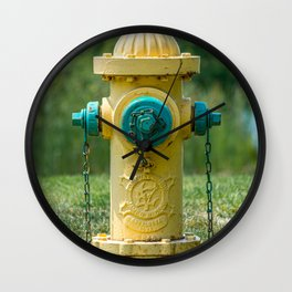 Yellow and Green Eddy Valve Division Clow Fire Hydrant Wall Clock