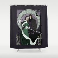 rogue Shower Curtains featuring Rogue Remy Art Nouveau by Andrew Formosa