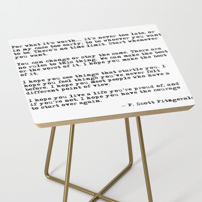 For what it's worth - F Scott Fitzgerald quote Side Table