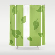 Scattered Green Leaves Shower Curtain