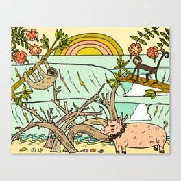 wild things in costa rica surf paradise art by surfy birdy Canvas Print