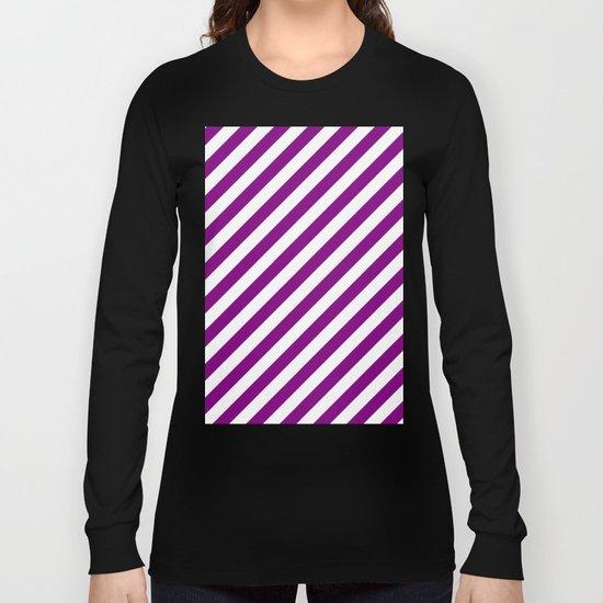 Diagonal Stripes (Purple/White) Long Sleeve T-shirt