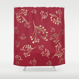 Holiday Flourishes in Digital Gold Foil Design on Cranberry  Shower Curtain