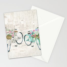 Vintage Bicycles With a City Background Stationery Cards