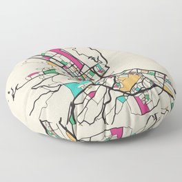 Colorful City Maps: Palermo, Italy Floor Pillow