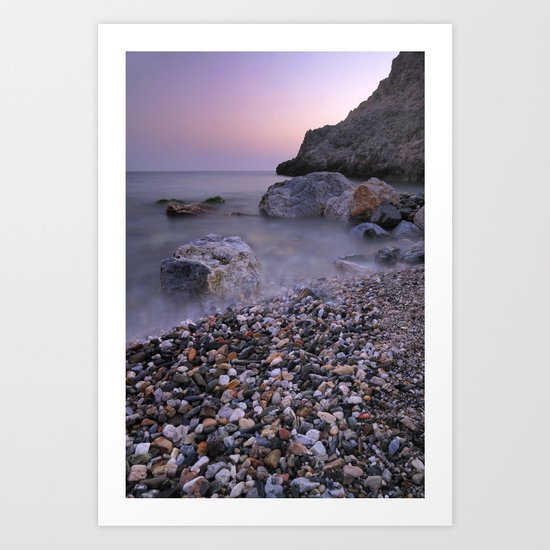 Little stones at sunset Art Print