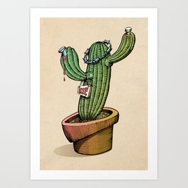 Nailed Cactus Art Print