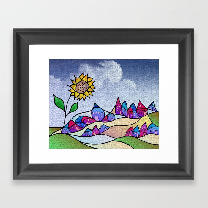 my little village and its sun -4- Framed Art Print