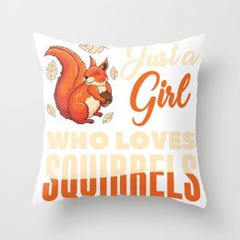 Girl Loves Squirrel Throw Pillow
