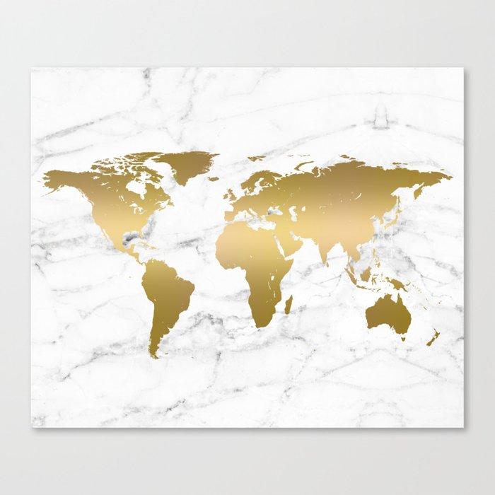 Metallic Gold World Map On Marble Leinwanddruck