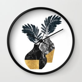 Gold + Marble Floral Vase Wall Clock