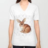 rabbit V-neck T-shirts featuring Rabbit by Patrizia Ambrosini