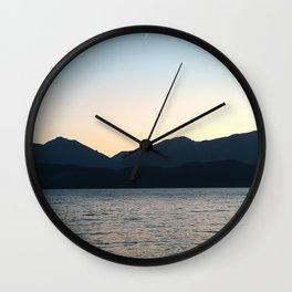 Sunset and Crescent Moon over the Water Wall Clock