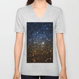 Galaxy Sparkle Stars Blue to Golden Bronze Ombre Unisex V-Neck