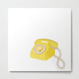 Yellow Vintage Phone // Retro Telephone Illustration Metal Print