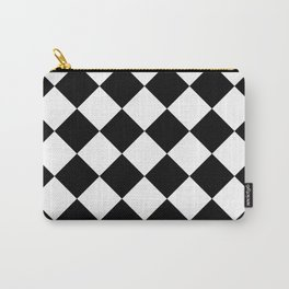 Large Diamonds - White and Black Carry-All Pouch