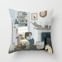 nursery Throw Pillows featuring Baby Animal Nursery by Yuliya