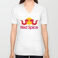 spice V-neck T-shirts featuring Red Spice by Optimapress