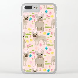 French Bulldog fawn coat easter eggs easter spring themed dog art pet portraits Clear iPhone Case