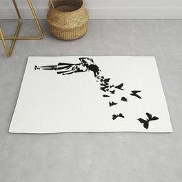 Banksy - Girl Shooting Her Head With Butterfly Design, Streetart Street Art, Grafitti, Artwork, Desi Rug