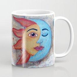 Soluna, Sun and Moon Mixed media Painting Coffee Mug
